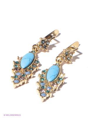 Серьги Jenavi. Цвет: голубой, золотистый