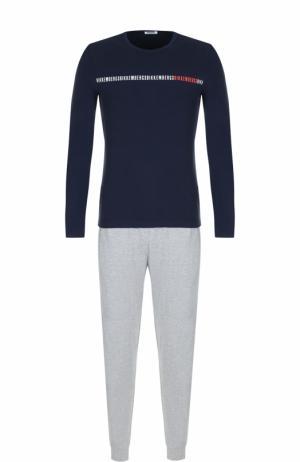 Хлопковая пижама с брюками Dirk Bikkembergs. Цвет: синий
