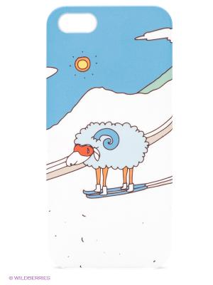 Чехол для IPhone 5 Овечка в горах Mitya Veselkov. Цвет: голубой, серый