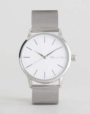 Bellfield Часы с серебристым ремешком-сеточкой. Цвет: черный