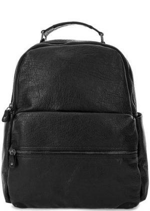 Кожаный рюкзак с боковыми карманами Bruno Rossi. Цвет: черный