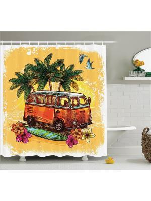 Фотоштора для ванной Оранжевый автобус, 180*200 см Magic Lady. Цвет: оранжевый, розовый, желтый, зеленый