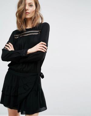 BA&SH Платье с запахом на юбке и вырезным узором Joli. Цвет: черный