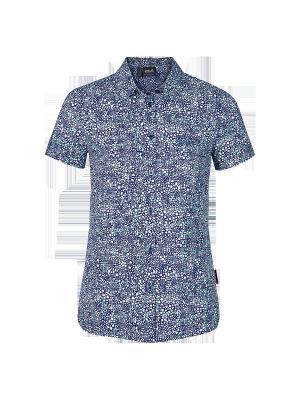 Рубашка WAHIA PRINT SHIRT W Jack Wolfskin. Цвет: синий