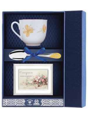 Набор чайный Ландыш-Желтые цветы(чашка + ложка 925 пр рамка для фото футляр) АргентА. Цвет: серебристый