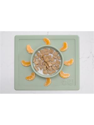 Тарелка с подставкой Ezpz Happy Bowl  Sage. Цвет: оливковый