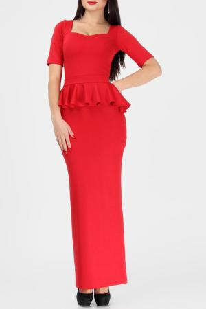 Облегающее платье со съемной баской BERENIS. Цвет: красный