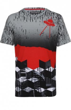Хлопковая футболка с принтом Frankie Morello. Цвет: темно-серый