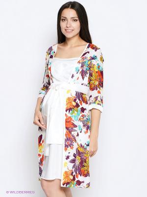Платье MammySize. Цвет: белый, оранжевый