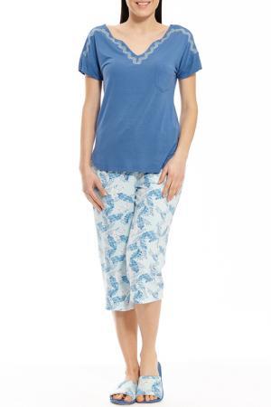 Пижама с капри Relax Mode. Цвет: пальмы