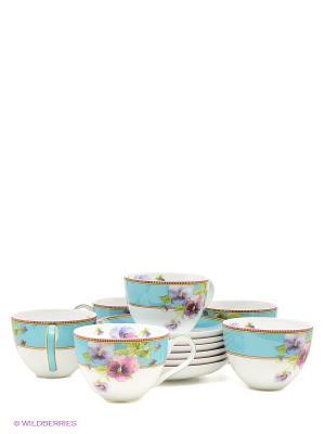 Чайный набор Виола Pavone. Цвет: белый, голубой, сиреневый