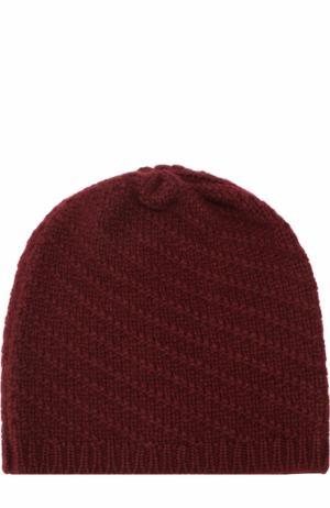 Вязаная шапка из кашемира Johnstons Of Elgin. Цвет: бордовый