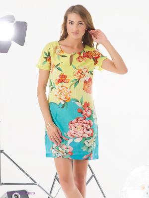 Платье Rene Derhy. Цвет: желтый, бирюзовый, бледно-розовый, красный