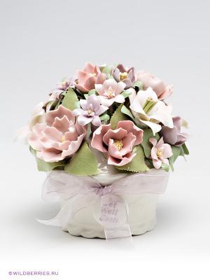 Музыкальная композиция Ваза с цветами Pavone. Цвет: молочный, светло-зеленый, светло-коралловый
