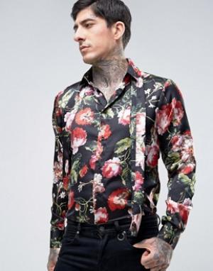 Rogues of London Приталенная рубашка с цветочным принтом и съемным шарфом Lon. Цвет: черный