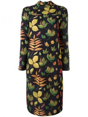 Платье с принтом листьев Arthur Arbesser. Цвет: чёрный