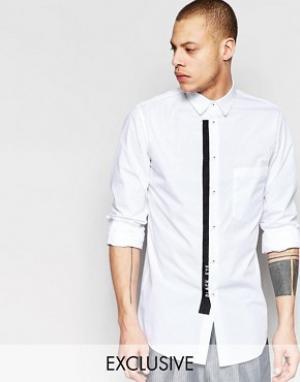 Black Eye Rags Рубашка с карманом и контрастной окантовкой. Цвет: белый