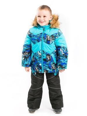 Комплект Рома утепленный (куртка со съёмной пуховой подстёжкой) Аксарт. Цвет: бирюзовый, черный