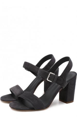 Замшевые босоножки на устойчивом каблуке Loro Piana. Цвет: темно-серый