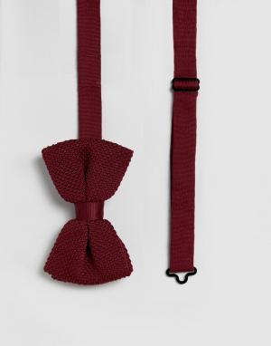 ASOS Бордовый трикотажный галстук-бабочка. Цвет: красный