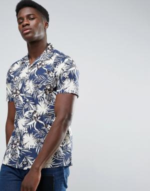 Dickies Рубашка классического кроя со сплошным цветочным принтом. Цвет: темно-синий