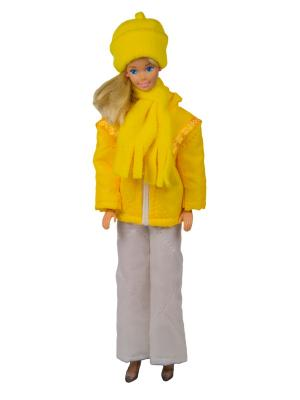 Пуховик, штаны, шапочка и шарфик для куклы 29 см Модница.. Цвет: желтый