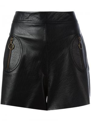 Кожаные шорты с завышенной талией Philosophy Di Lorenzo Serafini. Цвет: чёрный