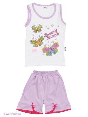 Майка, шорты Babycollection. Цвет: белый, фиолетовый