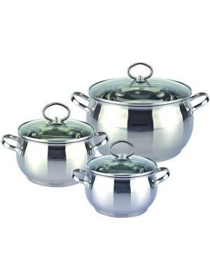 Набор кухонной посуды . Кастрюли 2,0л/2,5л/3,5л BOHMANN. Цвет: серебристый