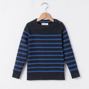 Пуловер в полоску,  3-12 лет R essentiel. Цвет: синий морской/слоновая кость,темно-синий