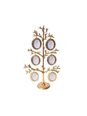Фоторамка Дерево, 6 фото 4х5см PLATINUM quality. Цвет: золотистый