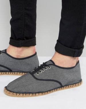 ASOS Черные эспадрильи из ткани шамбре в стиле оксфордских туфель. Цвет: черный