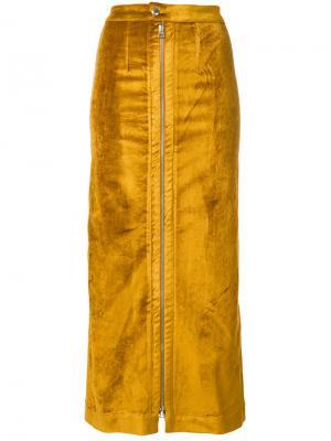 Узкая юбка на молнии Eckhaus Latta. Цвет: жёлтый и оранжевый