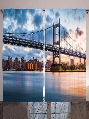 Комплект фотоштор Бруклинский мост, 290*265 см Magic Lady. Цвет: бежевый, бледно-розовый, оранжевый, розовый, персиковый, белый, черный, синий, морская волна, голубой
