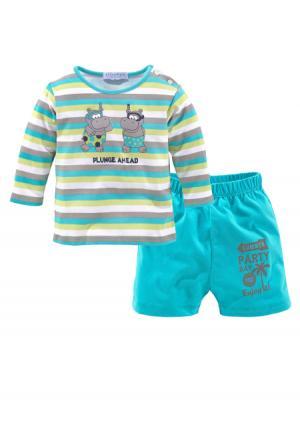 Комплект, 2 части: футболка + шорты KLITZEKLEIN. Цвет: с рисунком+бирюзовый