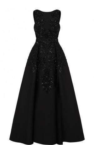 Приталенное платье-макси с декоративной отделкой Zuhair Murad. Цвет: черный