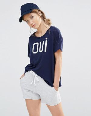 SUNDRY Свободная футболка. Цвет: темно-синий