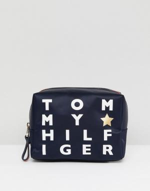 Tommy Hilfiger Несессер с логотипом. Цвет: темно-синий