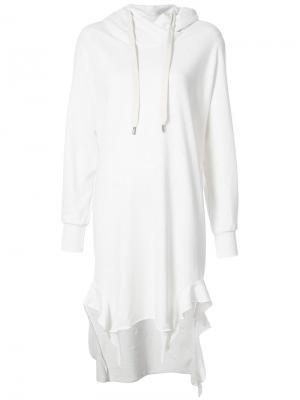 Long ruffled hoodie NSF. Цвет: белый