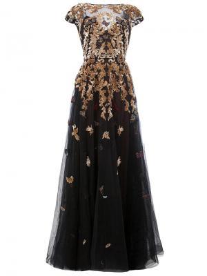 Расклешенное декорированное платье Zuhair Murad. Цвет: чёрный