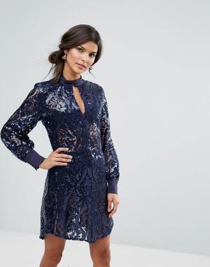 Closet London Платье с длинными рукавами и отделкой пайетками. Цвет: синий