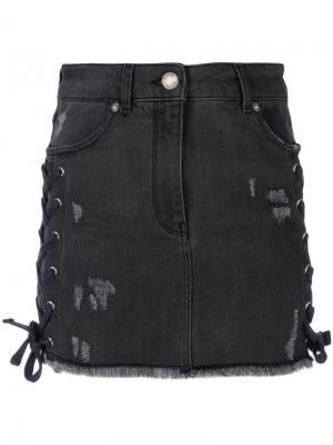 Мини юбка со шнуровкой Zayn x Versus. Цвет: серый