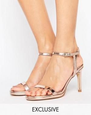 Faith Золотистые сандалии на каблуке Dolly. Цвет: золотой