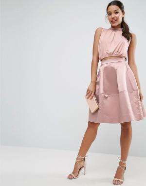 ASOS Атласная юбка для выпускного с декоративной строчкой. Цвет: розовый