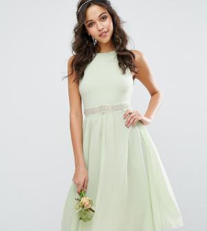 TFNC Декорированное платье миди с пышной юбкой WEDDING. Цвет: зеленый
