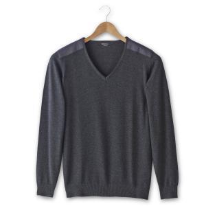 Пуловер с V-образным вырезом, 100% хлопка TAILLISSIME. Цвет: антрацит