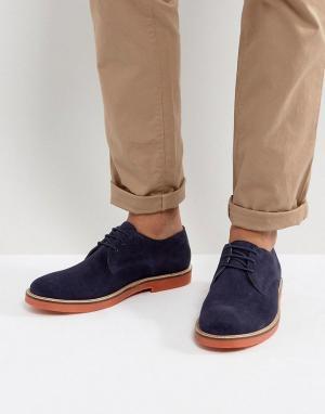 KG Kurt Geiger Темно-синие туфли дерби с контрастной подошвой By Morco. Цвет: синий