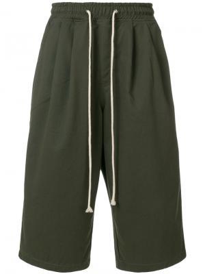 Укороченные брюки с заниженной проймой Yuiki Shimoji. Цвет: зелёный
