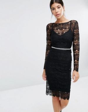 Body Frock Кружевное платье с моделирующим эффектом Sylvie. Цвет: черный