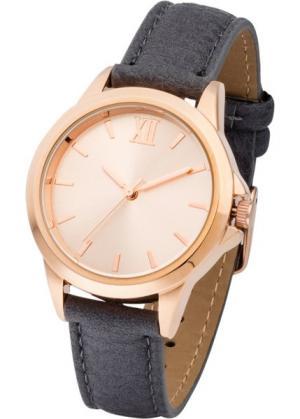 Часы на классическом браслете (серый/розово-золотистый) bonprix. Цвет: серый/розово-золотистый